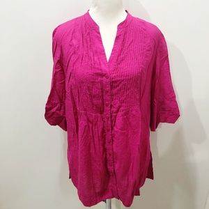 COLDWATER CREEK PL Shirt Solid Pink Pintuck Front